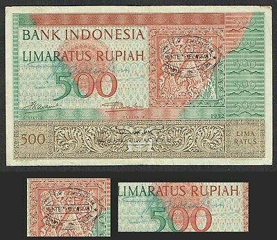 Indonesia 500 Rupiah 1952 (3 Letters + 2x Stamp) P47 (2)
