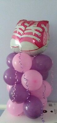 """BABY GIRL 21/"""" TRAINERS SHOE SHAPED FOIL BALLOON TABLE DISPLAY AIR FILL NEW BABY"""