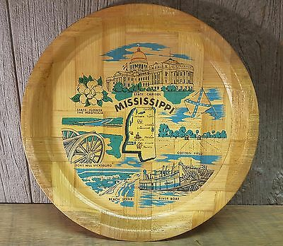 Vintage Mississippi Bamboo Dish Souvenir Serving Tray Plate Retro 13 Inches