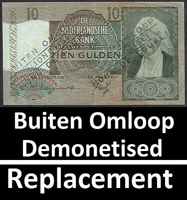 Netherlands 10 Gulden 1941 Emma Replacement + Buiten Omloop P53 / MWR RB15