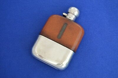 Large Vintage James Dixon Leather & Silver Plate Hip Flask - antique flasks