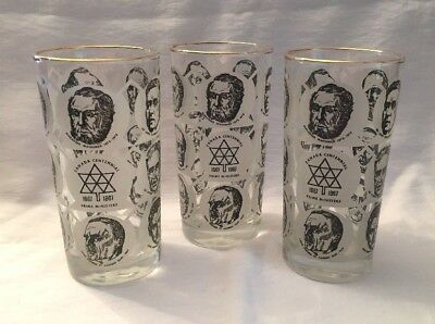 Set of 3 Vintage Canada Centennial Prime Ministers Glasses Tumblers, 1867-1967