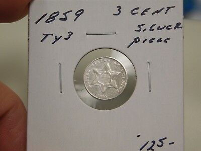 1859 Type 3 3 Cent Silver Piece