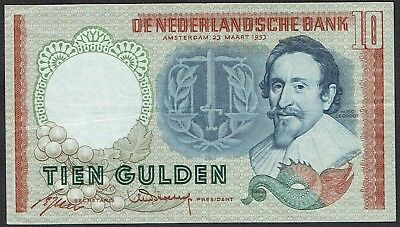Netherlands 10 Gulden 1953 Hugo Groot (BQ-DG type3) P85 / PL45.a3