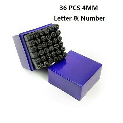 36 PC 4MM Shaft Letter & Number Stamping Set Hardened Metal Stamp Die with Case