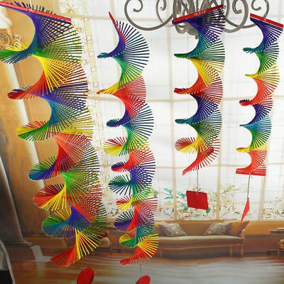 Bamboo Rainbow Wind Spinner Home Decor Colorful Mobile Chime Lawn Wind Spiral