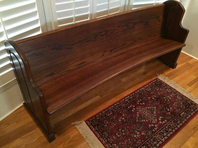 Antique Train Station Curved Church Pew / Bench Solid Oak Beautiful!!!