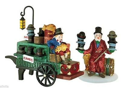 Dept 56 Dickens Village Chelsea Market Hat Monger & Cart  Set Of 2 Accessory New