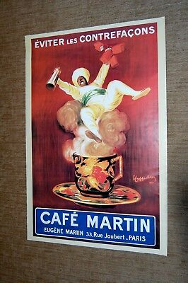 "Cafe Martin French Coffee Adv Art Poster. Lg 36"" x 24""  Genni out of coffee cup."