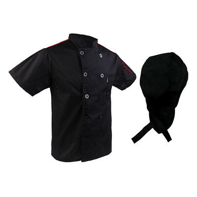 Black Chef Hat Five Star Chef Jacket Chefs Coat Catering Uniform Mfor Mens