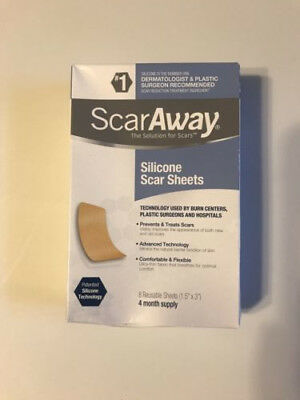 ScarAway Silicone Scar Treatment Sheets, 1.5''x 3'', 12 Count, Exp.05/2022