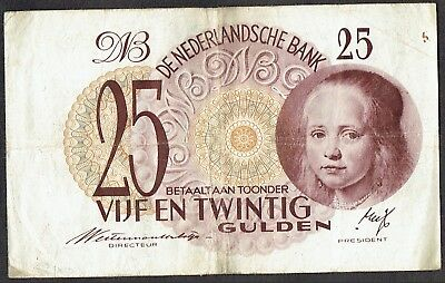 Netherlands 25 Gulden 1945 Meisje in 't Blauw (type1) Girl in Blue P77 / PL65.a