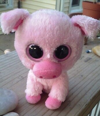 "Ty Beanie Boos ~ CORKY - 6""  Pig    No Heart Hang Tag   Solid Pink eyes 2011"