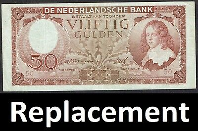 Netherlands 50 Gulden 1945 Stadhouder Willem Replacement P78 / MWR RF6 / PL82.R