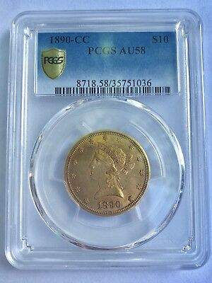 1890-Cc $10 Gold Liberty Pcgs Au58