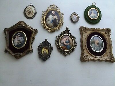 Lot Of 8 Antique Vintage Brass Metal Resin Hanging Picture Frames Italy