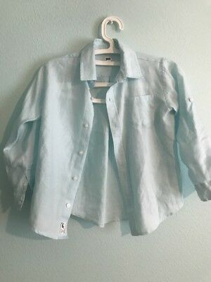 Janie and Jack Dress Shirt light blue Linen Size 5 - rare
