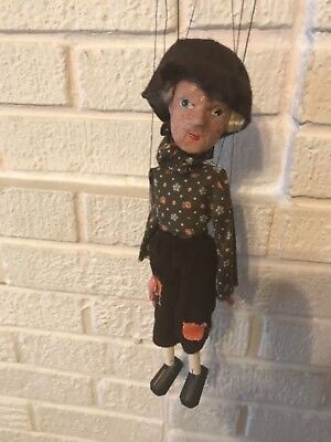 ANTIQUE 19TH C. HAND CRAFTED CLAY FACE MARIONETTE PUPPET PEASANT Man