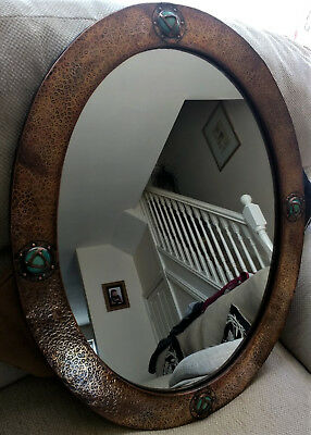 Arts And Craft Copper Hammered Mirror .1900s