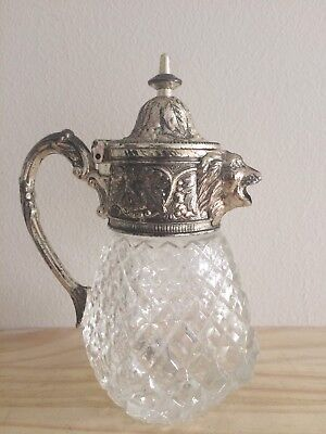 Old Unusual Lion Head Decanter Silver Plated And Glass