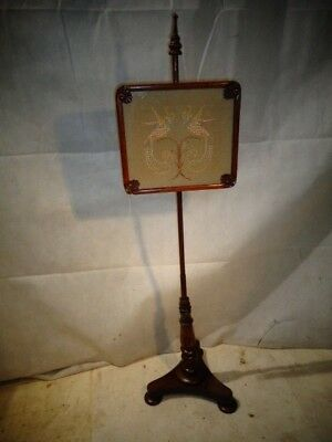 ANTIQUE GEORGIAN MAHOGANY POLE SCREEN c1820-40 FIRE SCREEN NEEDLE POINT