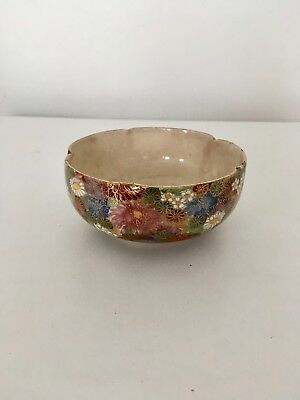 Vintage Chinese Floral Small Bowl Gold Gilded / Cracked Glaze / Signed / Marked