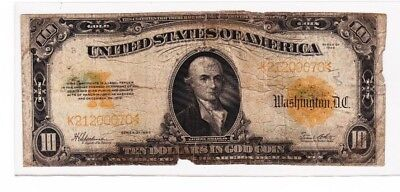 Fr 1173 1922 $10 Ten Dollars Gold Certificate Currency Note