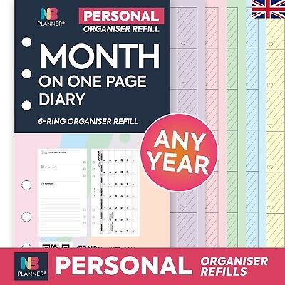 MONTH on one page diary Filofax organiser Compatible A5 Personal Pocket Refill