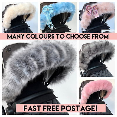 Fur hood trim for pram iCandy bugaboo silver cross universal fit FAST DELIVERY