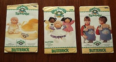 Lot of 3-Butterick Cabbage Patch Kids Clothes & Bed Carrier Sewing Patterns 80's