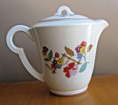 Edwin Knowles China Union Made KNO803 Red Orange Floral Plaid 1940's Coffee Pot
