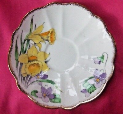 Rare Vintage Melba China tea Saucer 4223 Daffodil flowers (partial tea set)