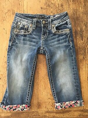 Used Miss Me Cuffed Jeans Capri Flowers Size 10 10Y