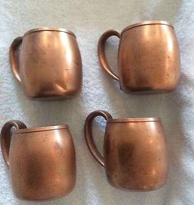 Four Solid Copper West Bend Mugs