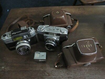 Lot Of 2 Vintage Cameras Taron Eye And Olympus 35-S Tower Flash Strap Case