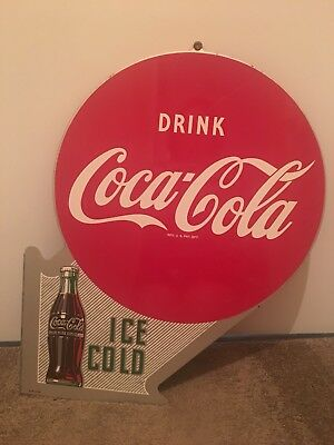 Vintage 1956 Coca Cola 22 Inch Double-sided Metal Sign