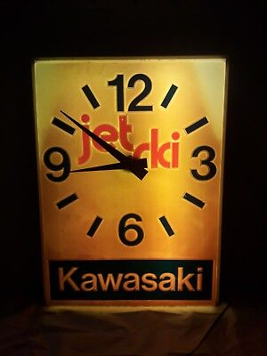Vintage Kawasaki Jet Ski Dealer Light Up Sign Clock  Store Display Advertising