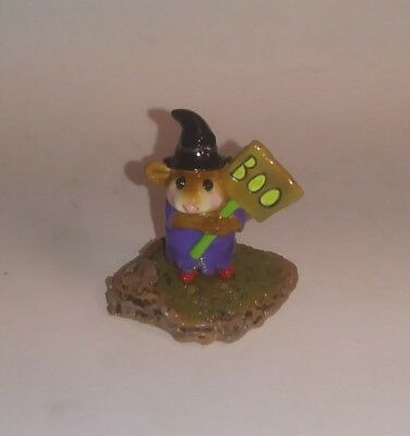 "Wee Forest Folk ""Little Boo Boo"" Purple Witch Halloween Mouse - M214 -1996"