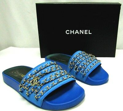 922c9c7dc7d4 Chanel 17C Bright Blue 7 37 Mules Tropiconic CC Slide Sandals Gold Chain  Satin