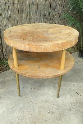 Danish Modern LANE ROUND ACCENT TABLE mid century tier vintage end side cocktail
