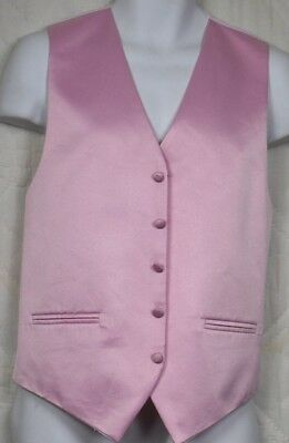 Cardi Collection Mens Pink Satin Tuxedo Vest Size Small Adjustable Full Back