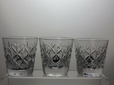 "Cut Glass Lead Crystal Whiskey 7 Oz Tumblers Set Of 3 - 3"" (7.5 Cm) Tall"