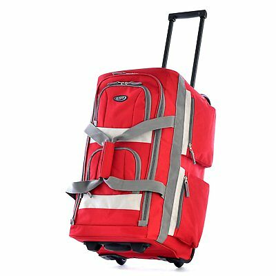 Olympia USA 22 Inch 8 Pocket Rolling Duffel Bag-Red color