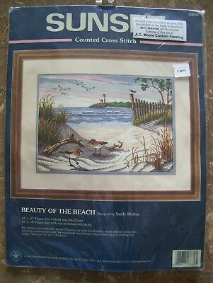 Dimensions Sunset BEAUTY OF THE BEACH Counted Cross Stitch Kit #13634 NIP