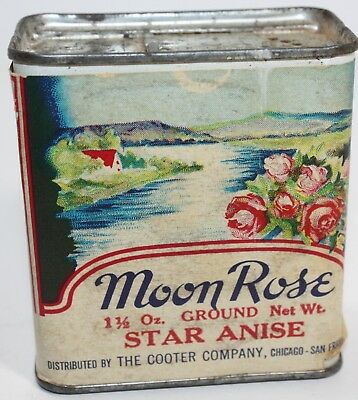 Rare Vintage Spice Tin Moon Rose Star Anise