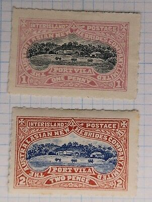 Australasian New Hebrides Company Inter-island local post 1p 2p Port Vila 1897DL
