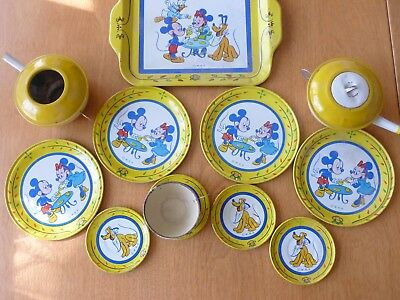 Vintage Disney Child's Tea Set Tin Mickey Minnie Pluto