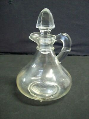 Vintage Clear Glass Vinigar / Oil Cruet with Cut Glass Stopper & Ornate Handle