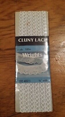 Vintage Wrights White Cluny Lace Loop Trim 2 Yds Free Shipping
