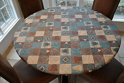PicClick & VINYL TABLE COVER  Round Fitted Vinyl Table Cloth Flannel Back Coffee Pattern